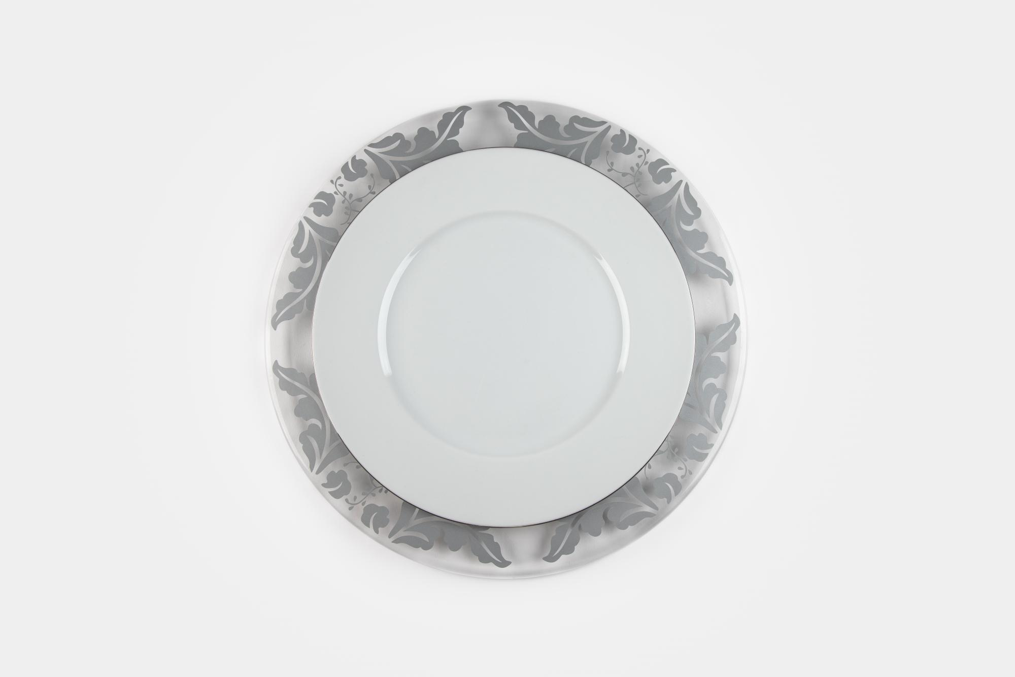 Grey flower charger - Image 1